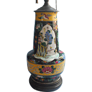 1920s to 1930s Chinese Pottery Table Lamp Vintage Hand Painted