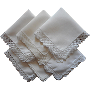 Vintage Hankies Linen Crocheted Lace 6 All White On White