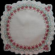 Vintage Hankie Printed Round w Squared Corners Unused Cotton Floral