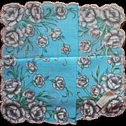 Vintage Hankie Unused Turquoise Blue Print Gray Carnations Cotton