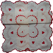 Vintage Hankie Valentine's Day Print Hearts Valentine Unused Cotton
