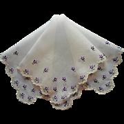 Vintage Hankie Hand Embroidered Violets Unused Cotton Swiss