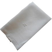 Monogram K Antique Linen Damask Hand Towel
