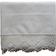 Vintage Pillowcase Unused Heavy Cotton Crocheted Lace Single
