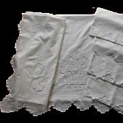 Sheet Set 4 Pillowcases Vintage Italian Cotton Cutwork 1920s to 1920s