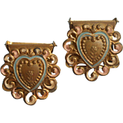 Ribbon Clips Antique Pair Heart Hand Painted Metal Pierced 1880s to 1910s