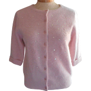 Vintage Pink Angora Blend Sweater Embroidery Beads Sequins Size 6 or 8