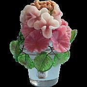 Vintage Glass Flowers Tiny Arrangement Perfume Tray Vanity Pink Hydrangea