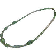 1930s Czech Art Glass Beads Necklace Vintage Green Clear Great Beads Czechoslovakia
