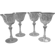 Cherokee Rose Cocktail Glasses 4 Vintage Etched Elegant Glass Tiffin