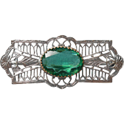 Vintage Filigree Pin Rhodium Art Deco Green Glass Stone