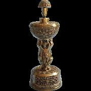 Perfume Music Box Bottle Filigree Ormolu Cherubs Vintage Vanity Ornate Metal
