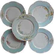 Haviland Limoges Hand Painted Dessert Plates Sky Blue Rims Antique China French
