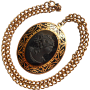 ca 1940 Necklace Big Black Glass Cameo Pendant On Chain Brass Victorian Revival
