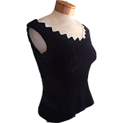 ca 1960 Black Velvet Fitted Evening Top Shell Pointed Scallops Neckline