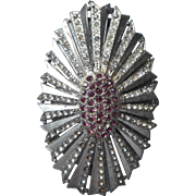 Dress Clip Big Art Deco Oval Sunburst Rhinestones Purple and Clear