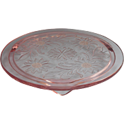 Pink Depression Glass Cake Stand Plateau Jeannette Sunflower