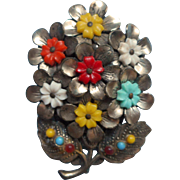 Dress Clip Vintage Bouquet Flowers Plastic Metal