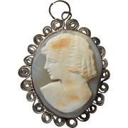 Vintage Cameo Carved Shell Italy Souvenir Wire Work Frame