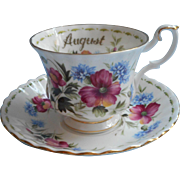 August Royal Albert Vintage Bone China Cup Saucer Poppy Flower Of The Month Series