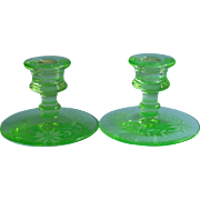 Depression Glass Candlesticks Green Vintage Flower Cut