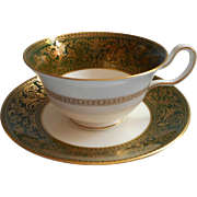 Wedgwood Florentine Arras Green Cup Saucer Vintage English Bone China