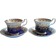 Royal Albert Regal Series Blue 2 Vintage Cup Cups Saucer Saucers English Bone China