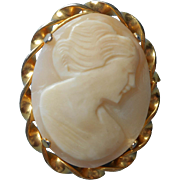 Shell Cameo Pin Vintage Brooch