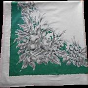 Vintage Tablecloth Kitchen Printed Green White Gray Heavy Cotton