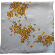 Vintage Tablcloth Printed Kitchen Golden Yellow Peach Linen Blend
