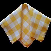 Vintage Linen Tablecloth Yellow Buffalo Checks Checked 52 x 50 Square