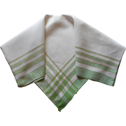 Vintage 1920s Tablelcoth Linen Green Yellow Plaid Border 54 Square