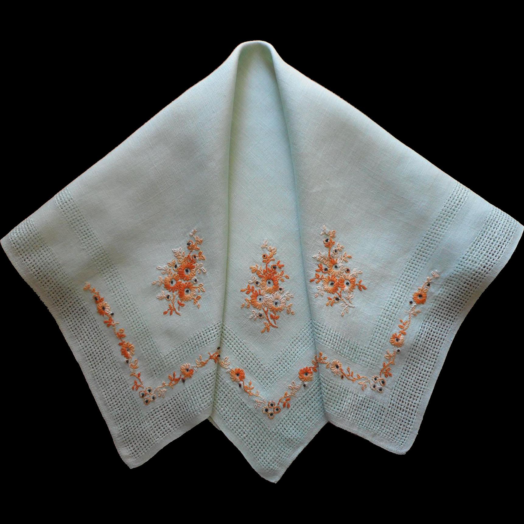 Vintage Tea Tablecloth ca 1930 Jadeite Green Linen Hand Embroidery