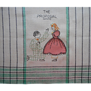 1920s Towel Hand Embroidery Applique Czech Unused Wedding Marriage Proposal