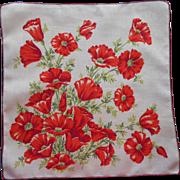 Vintage Hankie Printed Linen California Poppies