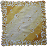 Vintage Hankie Printed Print Cotton Golden Yellow Roses