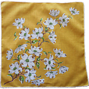 Vintage Hankie Printed Linen Dogwood Golden Yellow