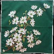 Vintage Hankie Printed Green Dogwood Print Original Burmel Label