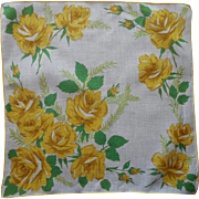 Vintage Hankie Printed Linen Yellow Roses