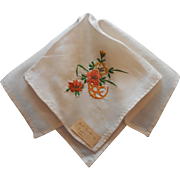 Vintage Silk Hankie 1940s Sailor's Gift Hand Embroidery