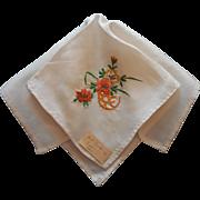 Vintage Silk Hankie 1940s Sailor's Gift Hand Embroidery