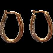 Vintage Earrings Sterling Gold Wash Pierced CZ Stones Small Oval Hoops