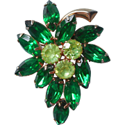 Vintage Pin Green Rhinestones Leaf Form