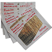 Vintage Letters Gold Metallic Foil Dennison Half Inch Unused Packets
