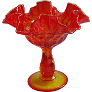 Vintage Fenton Amberina Thumbprint Glass Candy Dish Compote Pedestal
