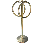 Vintage Brass Towel Two Ring Stand Holder Hand Guest Towels