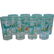 Vintage Gold Turquoise Bar Glasses Tumblers Asian Warriror Princess Horses Set 8