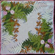 Vintage Ceil Chapman Handkerchief Hankie Printed Linen