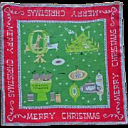 Vintage Pat Prichard Handkerchief Hankie Christmas Print Linen