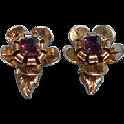 1940s Sterling Gold Vermeil Vintage Earrings Purple Glass Stones